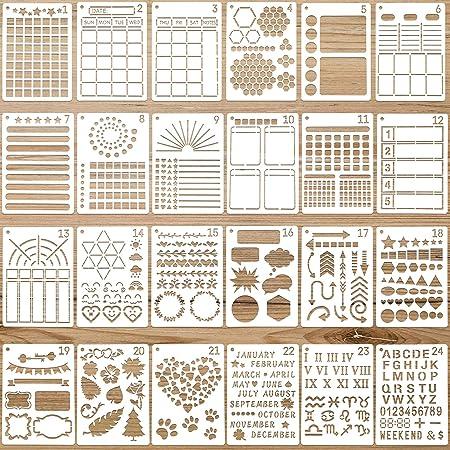 24 Pochoirs de Journal Modèles de Planificateur en Plastique Pochoirs de Peinture Réutilisables Modèles de Dessin de Calendrier pour Cahier Agenda Album Maison Projets d'Art Scolaire