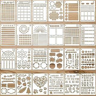 24 Pochoirs de Journal Modèles de Planificateur en Plastique Pochoirs de Peinture Réutilisables Modèles de Dessin de Calen...