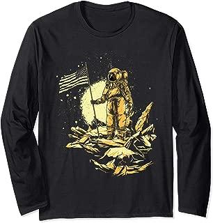 Astronaut Man on the Moon US Flag Long Sleeve T-Shirt
