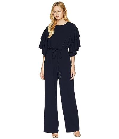 Adrianna Papell Blouson Ruffle Sleeve Jumpsuit (Midnight) Women