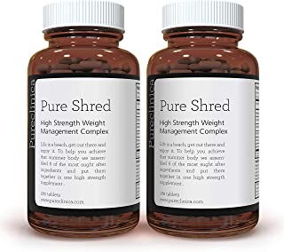 Pure Shred x 360 Tablets - (5 Leading Weight Management Ingredients - 1000mg per Tablet -2 Bottles of 180 Tablets - up to 1 Years Supply! SKU: PSHRED3x2
