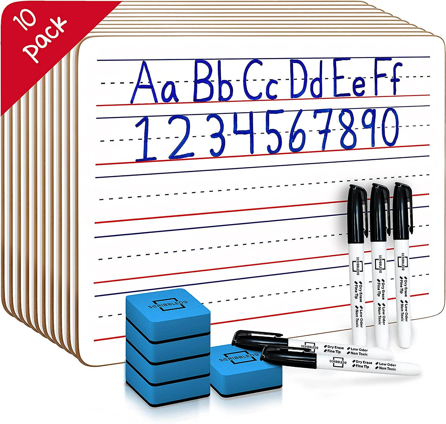 10 Pack 5 popular Now free shipping Dry Erase Ruled Whiteboards l Boa inch 9 X12 White Lined