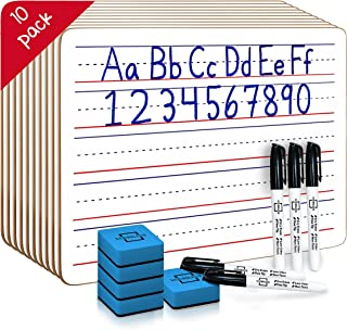 10 Pack Dry Erase Ruled Lap Boards l 9 X12 inch Lined Whiteboard (Double Sided White Boards ) (with Accessories)