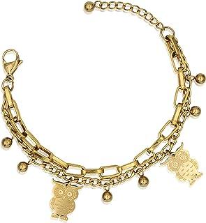 CHOICES Gold Charm Bracelet | Owl | Gold Bracelets for Women