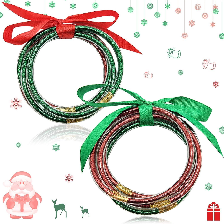 ZeeDix 10 Pack Christmas Sparkling Fashion Bangles- Elegant Soft Silicone Glitter Filled Jelly Bracelet Idea Gift for Girls and Ladies(Xmas Color)
