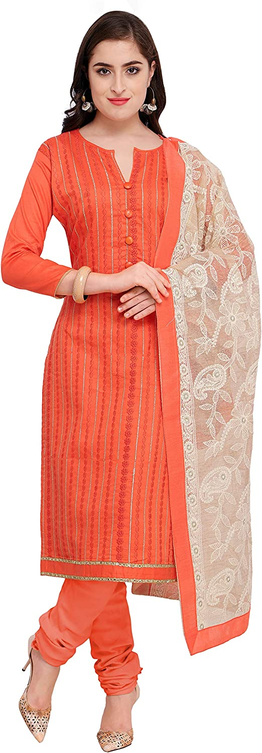 Rajnandini Women's Cotton Satin Embroidered Unstitched Dress Material(JOPLMF333_Peach_Free Size)