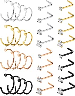 CASSIECA 32PCS 20G Stainless Steel L Shaped Nose Rings Studs Earrings Piercing Hoop Tragus Cartilage Nose Ring for Men Women
