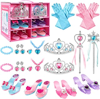 SUPER JOY Princess Dress Up Shoes & Jewelry Boutique - Pretend Princess Toys, 4 Pairs Play Shoes and Multiple Fashion Jewelry Accessories Girls Role Play Beauty Gift Toys for Age 3 4 5 6 Year Old