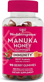 Wedderspoon Manuka Honey Immunity Gummies, Vitamin C & Probiotic Support, 90 Chewables, Mixed Berry