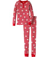 Hatley Kids - Candy Cane Stripes Waffle Henley PJ Set (Toddler/Little Kids/Big Kids)