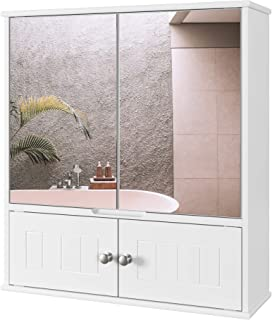 HOMECHO Armoire de Toilettes, Armoire Murale avec Miroir, Meuble de Salle de Bain avec Étagères de Rangement, 2 Portes à M...