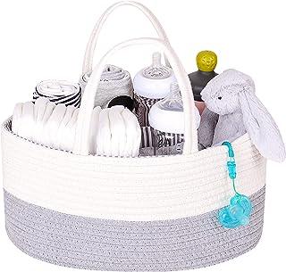 DOKEHOM Organizador de pañales para bebé, Organizador de pañales Multifuncional, Cesta de Almacenamiento de pañales con Compartimentos extraíbles (Blanco&Gris)