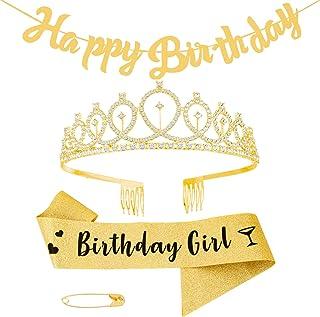 Herqw61 3 Pcs Happy Birthday Sash and Tiara, with Happy Birthday Banner Gold Glitter Birthday Crystal Crown for Birthday P...