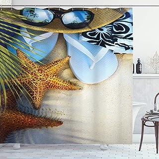 Ambesonne Beach Shower Curtain, Dream on The Tropical Beach Seashell Starfish Sea Star Sunglasses Flip Flop Slippers, Clot...