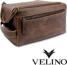 Velino Handmade Genuine Buffalo Leather Unisex Toiletry Bag Travel Dopp Kit Grooming and Shaving Kit ~ Gift for Men Women ~ Hanging Zippered Cosmetic Pouch ~ Bathroom Makeup Case