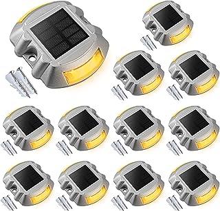 Solar Deck Lights Driveway Dock Lights, VOLISUN 12-Pack Led Wireless IP67 Waterproof Outdoor Warning Step Lights for Drive...