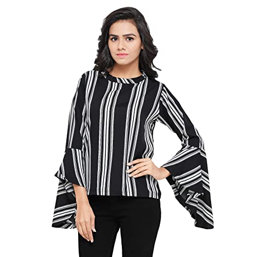 a35fabfd2f2 Serein Women's Top (Black and White Printed top with Flute Sleeves)