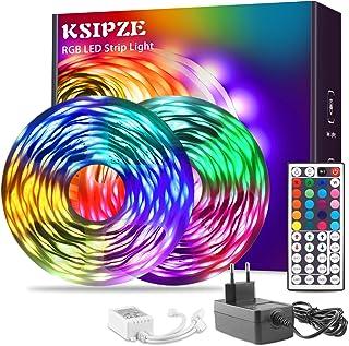 Ksipze LED Strip 15m RGB 5050 LED-Streifen mit Fernbedienung LED-Beleuchtung mit mehrfarbiger Beleuchtung, verwendet für S...