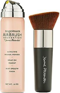 MagicMinerals AirBrush Foundation توسط Jerome Alexander - ست 2 عددی با پایه Airbrush و برس کابوکی - آرایش اسپری با مواد ضد پیری برای پوست درخشان صاف (سبک)