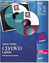 Avery 6692 CD/DVD Labels for Color Lasers, 30 Disc Labels & 60 Spine Labels