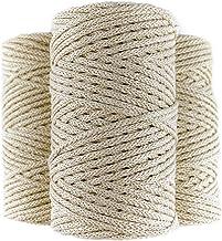 LA LUPE Gevlochten macramé touw van 100% katoen, 100 m, 4 mm, beige