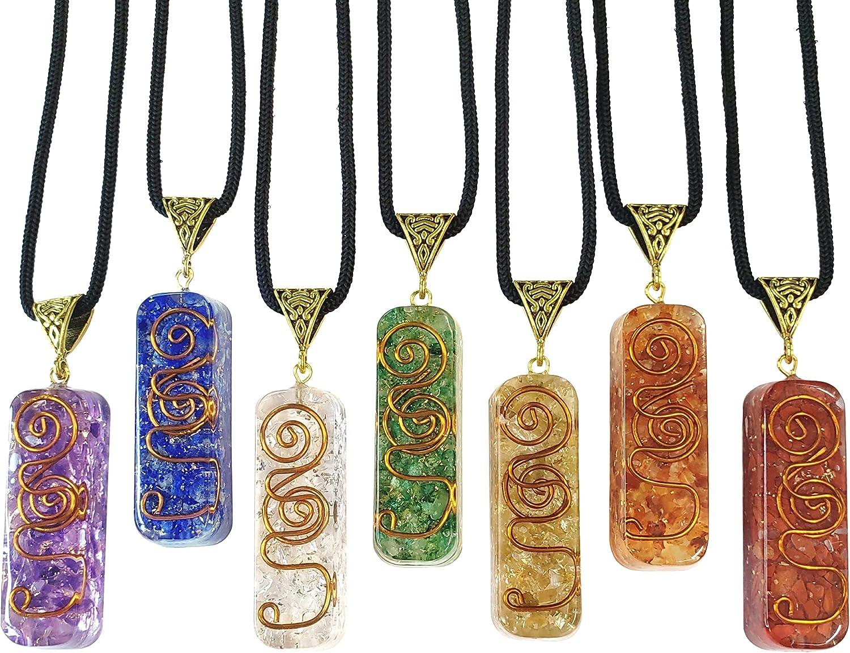 Tangie Marie Chakra Crystal Necklaces for Women Men Orgone Gemstone Feng Shui Energy Reiki Spiritual Meditation Necklet Pendant Set