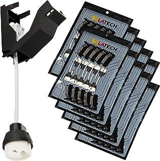 Lampbas GU10 uttag. Brandsäkra keramiska lamphållare med terminalbox och snabbanslutning för LED- och halogenlampor VDE Ro...