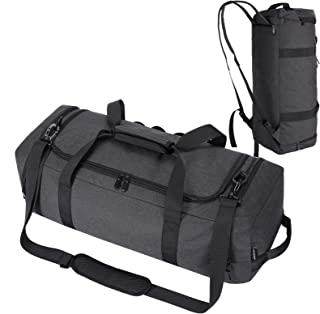 HOKEMP Large Gym Duffel Bag Sports Gym Bag with Shoe Compartment Waterproof Backpack Travel Luggage Weekender Bag for Men Women (Black)