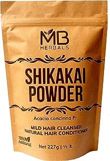 MB Herbals Pure Shikakai Powder 227g | 1/2 lb | 8 oz | 0.5 LB | 100% Pure Acacia concinna Fruit Pods Powder from Wildcrafted Shikakai | Natural Hair Cleanser & Conditioner