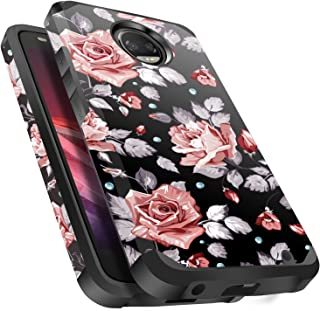 Moto Z2 Play Case Shockproof, Miss Arts Slim Anti-Scratch Protective Kit with [Drop Protection] Heavy Duty Dual Layer Hybrid Sturdy Armor Cover Case for Moto Z2 Play (2017) -Rose Gold Flower
