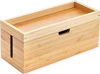 KD Essentials – bambusowe pudełko do przechowywania zpokrywką (przeznaczone do przechowywania ładowarek, listew zasilając...