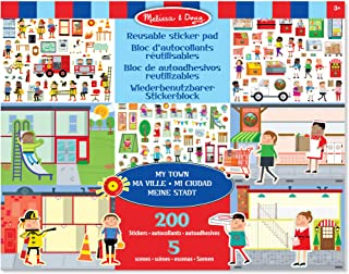Melissa & Doug Återanvändbara klistermärken Pad – My Town | Activity Pad | Sticker Pad | 3 | Present till pojke eller flicka