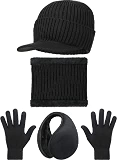 4 Pieces Winter Warm Set Knit Hat Scarf Earmuff Touch Screen Gloves for Unisex