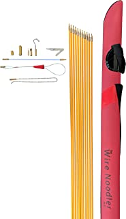 Wire Noodler HD: Most Complete Wire and Cable Pulling Fish Tape Kit. 8 Attachments Including Flexible Nylon Rod, Chain Noodle, LED Light, Magnet, Various Hooks, and Carrying Case (32 foot)