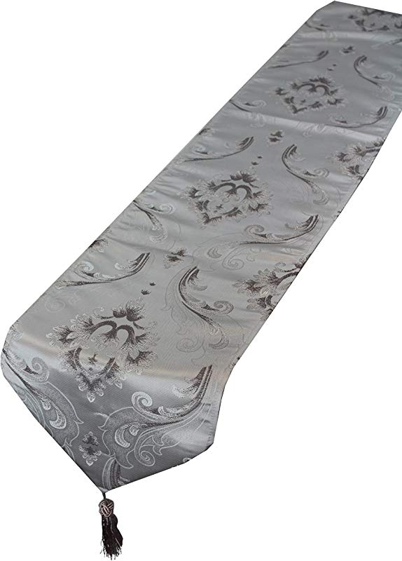 Violet Linen Vintage Collection Luxurious Boutique Table Runner 13 X 70 Silver