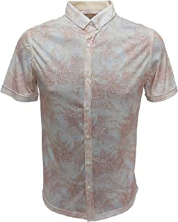 Markova Men Floral Printed Shirt in Slim Fit with Short Sleeves
