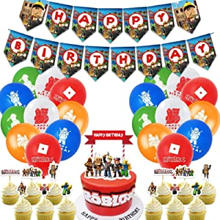 Sandbox Birthday Party Supplies,Gaming Theme Party Decorations Set Include Latex Balloons, Happy Birthday Banner, Cake Top...