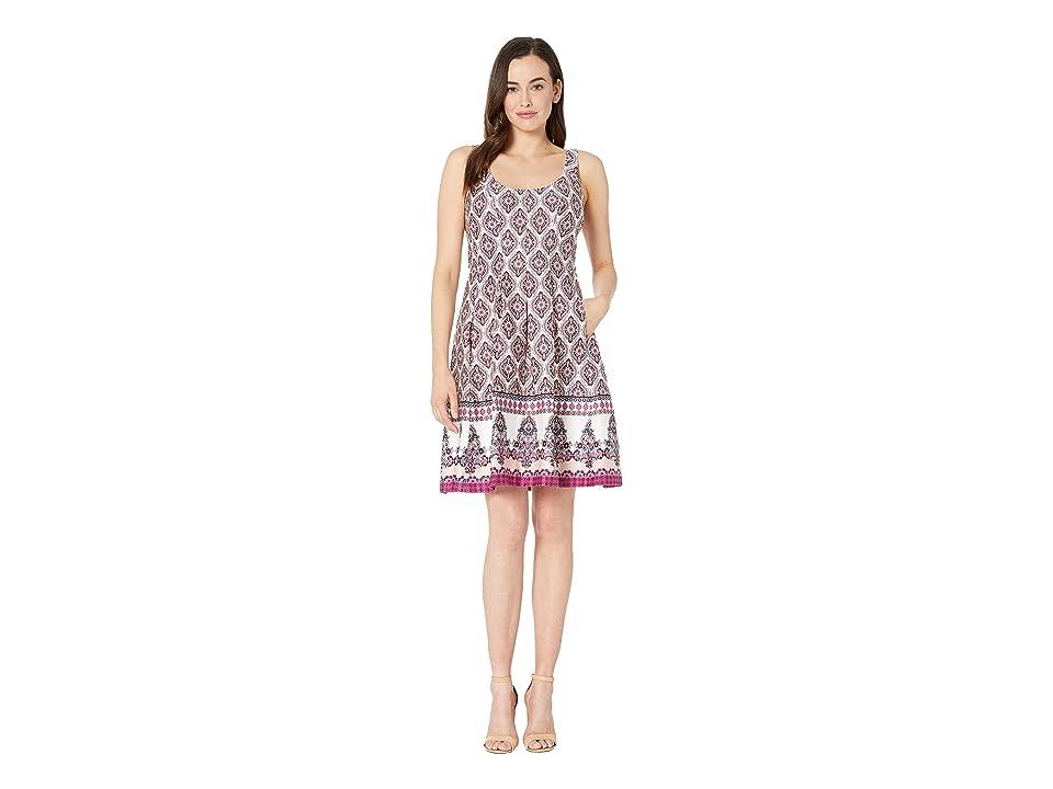 Nine West Printed Cotton Sateen Dress (Pink Multi) Women