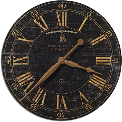 "Zinc Decor London Weathered Black & Gold Wall Clock 18"" Roman Numerals Urban City Flat"