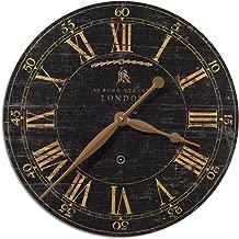 "Zinc Decor London Weathered Black & Gold Wall Clock 18"" Roman Numerals Urban City Flat"
