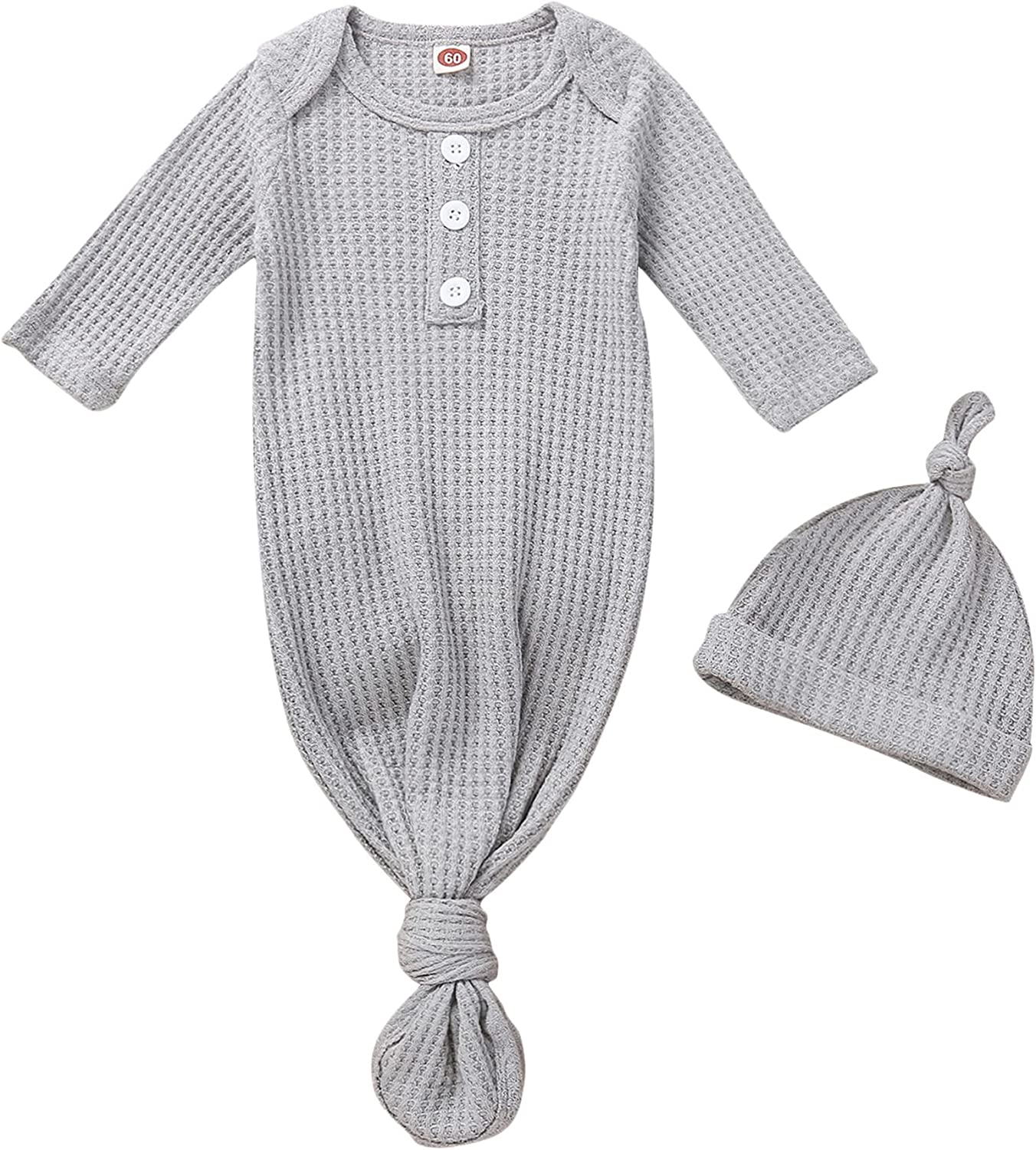 Cutoluca Newborn Infant Baby Boy Girl Solid Color Cotton Sleeper Gown Sleeping Bag Hat Outfit