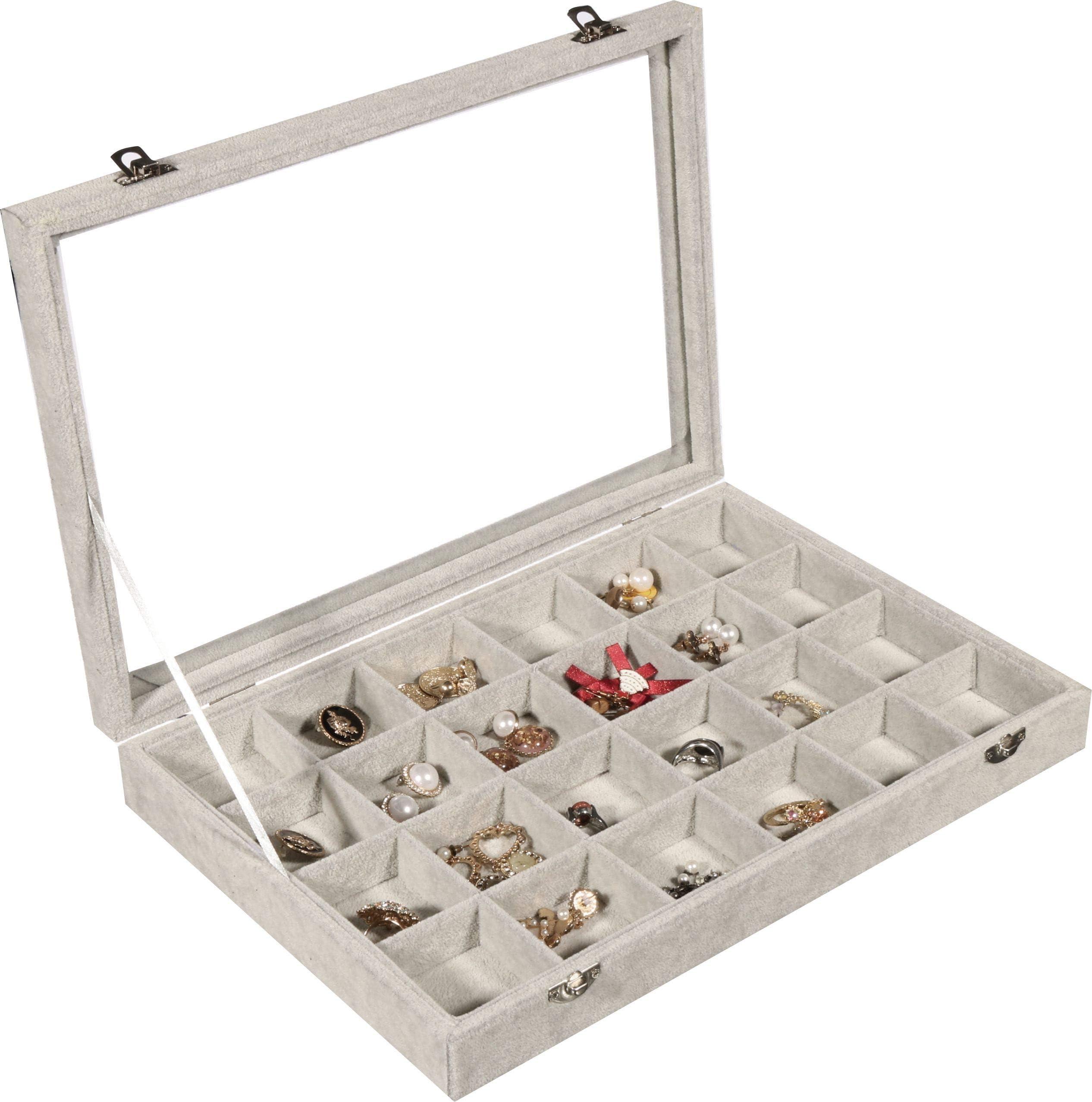 Ring Rolls Tray Insert Grid Jewelry Display Storage Box Tray Holder Showcase Pop