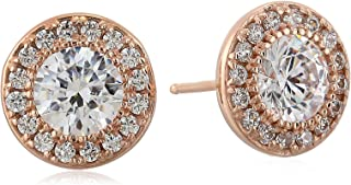 Platinum or Gold Plated Sterling Silver Halo Swarovski Zirconia Stud Earrings