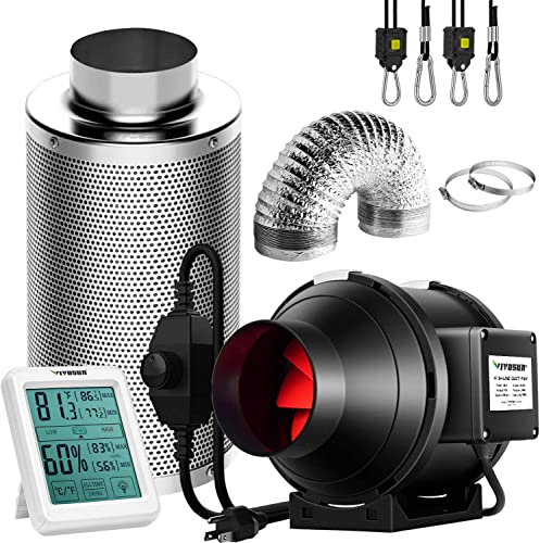high quality VIVOSUN 4 Inch 190 CFM 2021 Inline Fan with Speed Controller, 4 Inch Carbon lowest Filter and 8 Feet of Ducting, Temperature Humidity Monitor for Grow Tent Ventilation online sale