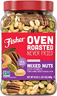 Fisher Snack Oven Roasted Never Fried, Mixed Nuts with Peanuts, 24oz (Pack of 1) Peanuts, Almonds, Cashews, Pistachios, Pe...
