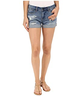 Denim Cuffed Distressed Shorts in Weekend Warrior