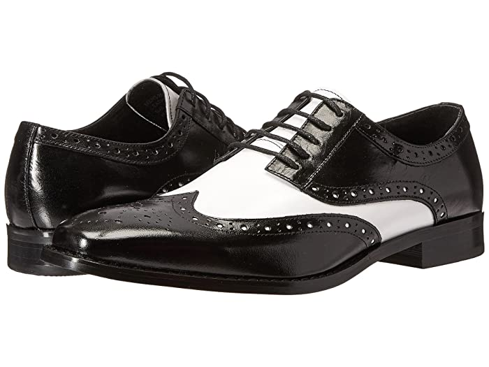 1920s Gangster Costume- How to Dress Like Al Capone Stacy Adams Tinsley Wingtip Oxford BlackWhite Mens Lace up casual Shoes $124.95 AT vintagedancer.com