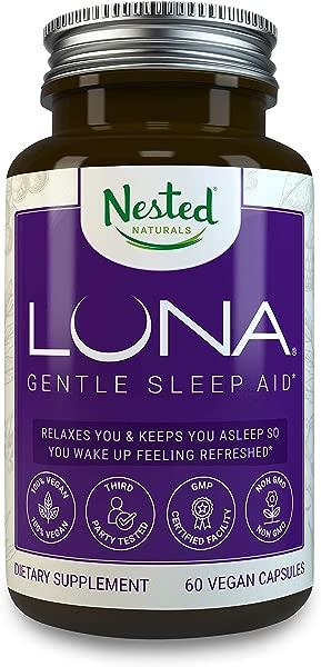 Luna 1 亚马逊天然来源的睡眠辅助成分 60 非习惯形成素食胶囊含褪黑激素的草药补充剂缬草甘菊安眠药成人