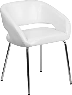Flash Furniture Fusion Series Contemporary White Leather Side Reception Chair - CH-162731-WH-GG