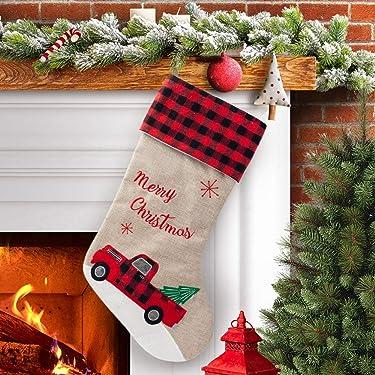 S-DEAL - Calcetín de arpillera para Navidad, diseño de cuadros rojos y negros, 21.0in, para decoración de abrigos, para fiestas, familia, vacaciones, Navidad